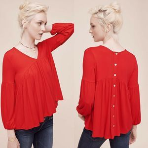 Eri + Ali Anthropologie Red Shay Button Back Top